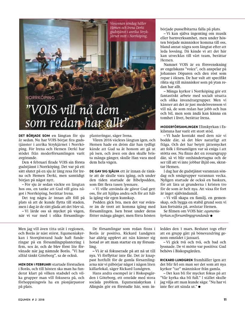 Equmen artikel - VOIS vill nå dem som redan har allt